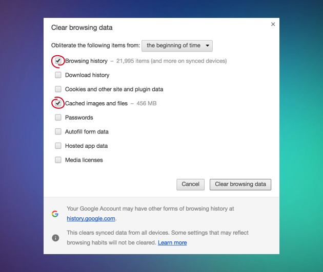 How to clear the cache in Google Chrome manually