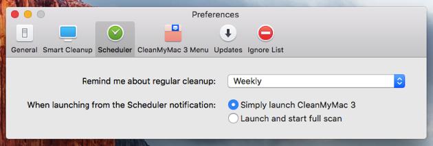 CleanMyMac 3 Scheduler