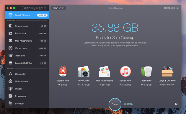 Scan your Mac with CleanMyMac and get rid of junk files
