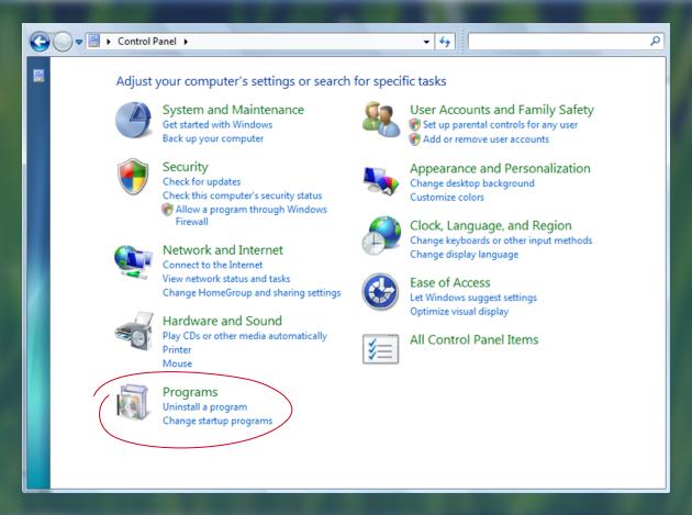 Uninstall unused programs
