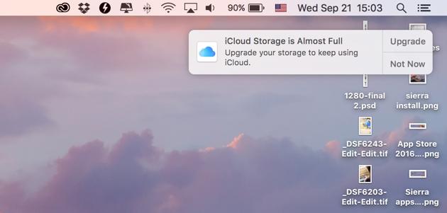Error on Sierra - iCloud storage is Almost Full