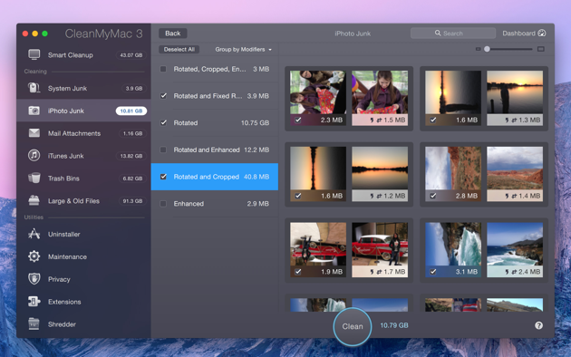 iPhoto Junk module selects duplicates and similar photos