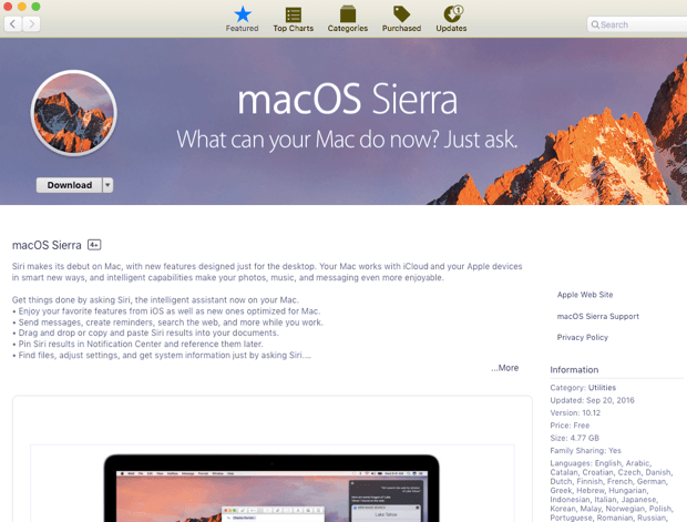 Download macOS Sierra from Mac App Store