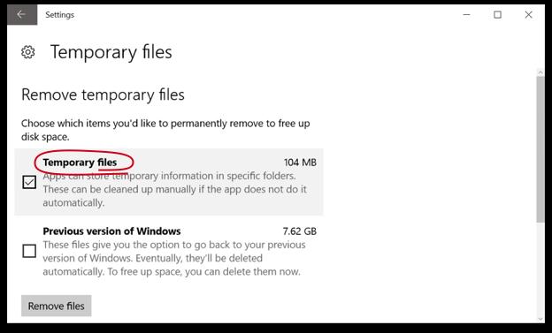 Windows 10 Temporary Files