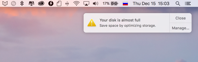 Your disk is almost full macOS Sierra