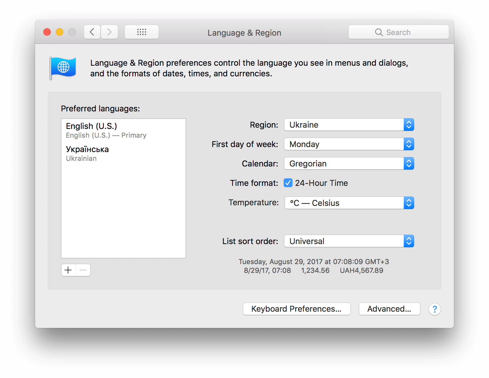 Language & Region macOS preferences