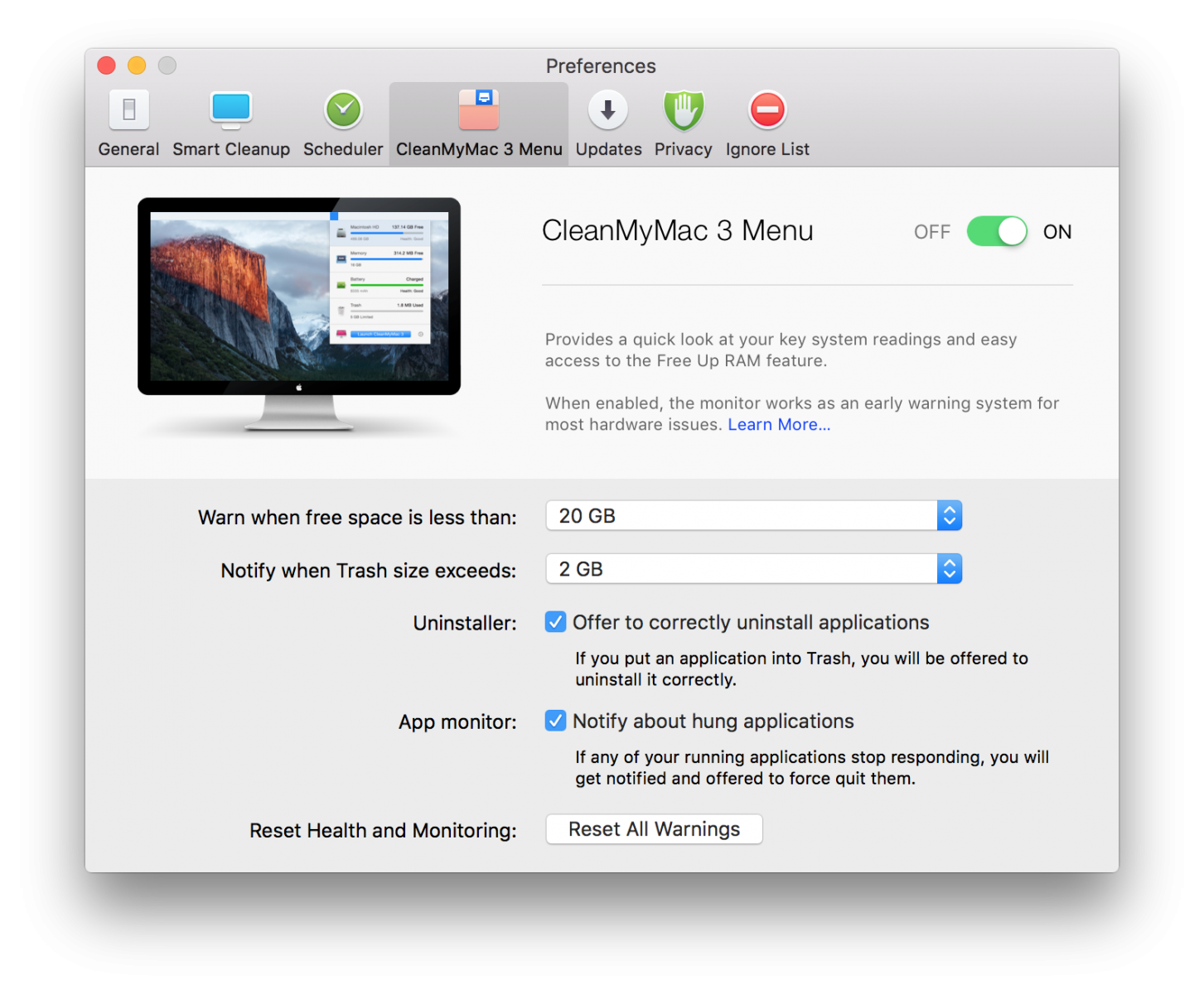 CleanMyMac 3 Menu tab