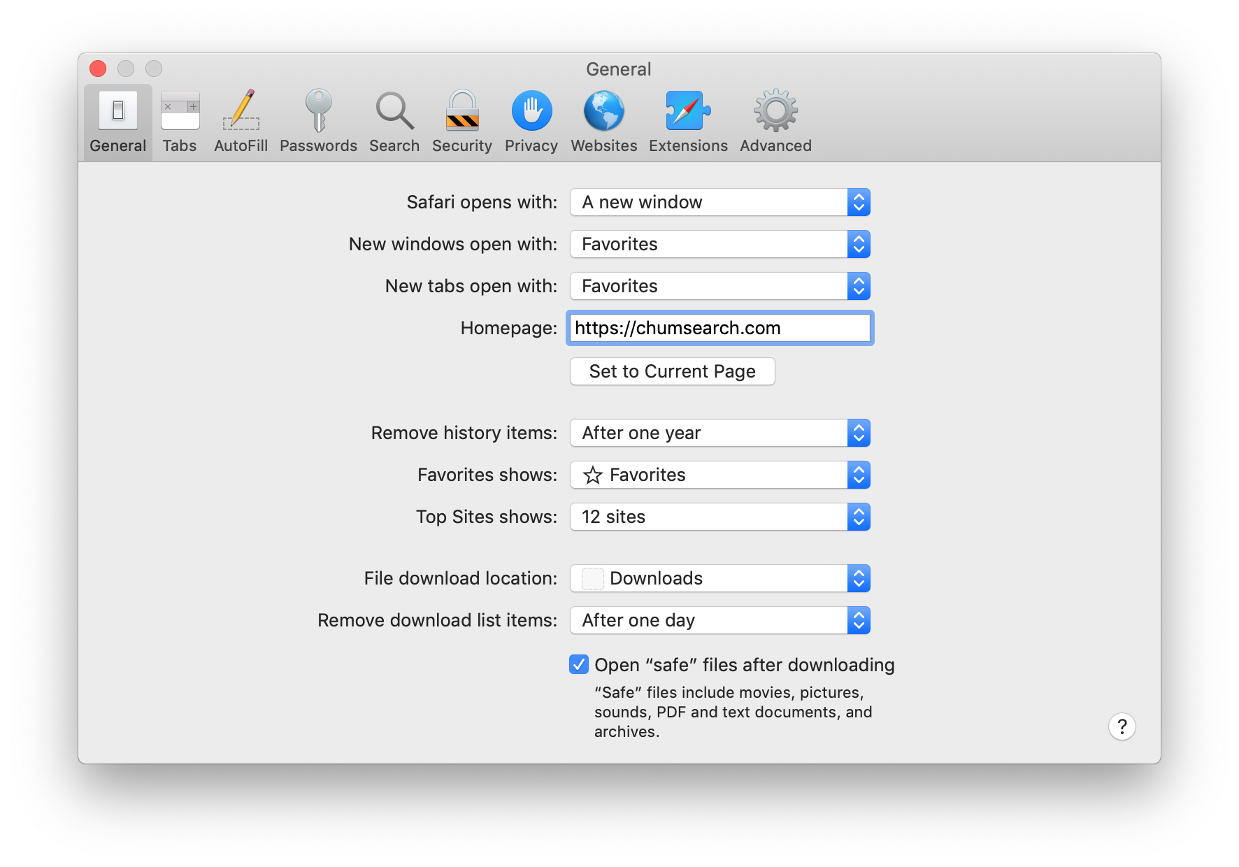 remove chumsearch from mac