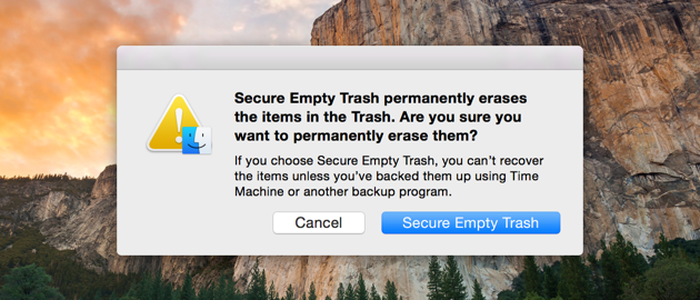 Apple secure empty trash