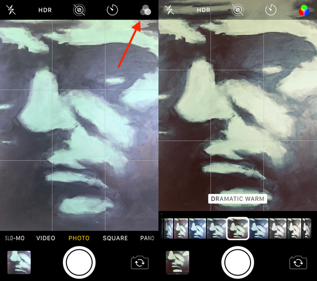 Screenshots: Using camera filters on iPhone