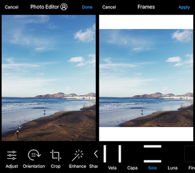How to add a white frame to an Instagram photo with Preview