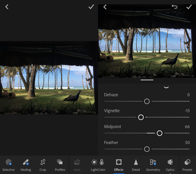Screenshots of Lightroom, the iOS version of the famous photo editor
