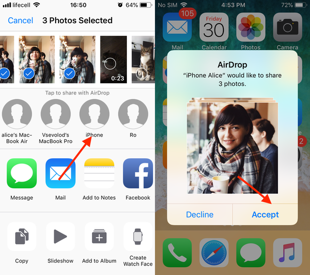 Screenshots: How to AirDrop pictures from your old iPhone to a new one