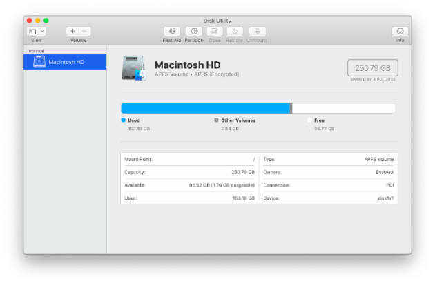 Screenshots of an APFS volume in Disk Utility