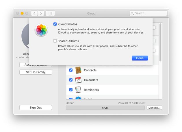 Screenshot: How to back up photos to iCloud