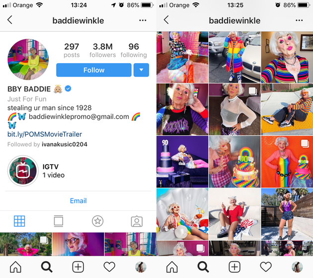 Screenshots of @baddiewinkle's Instagram feed