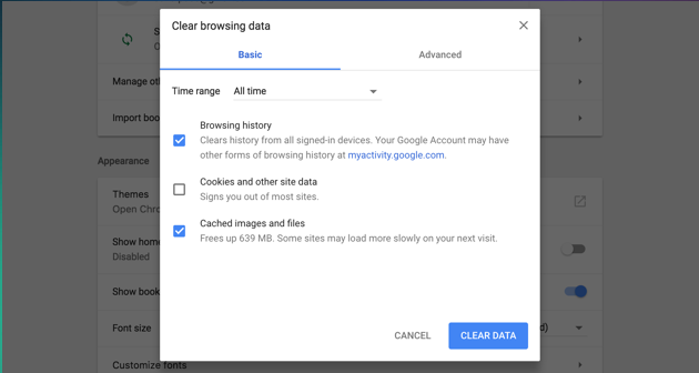 How to clear cache in Google Chrome manually