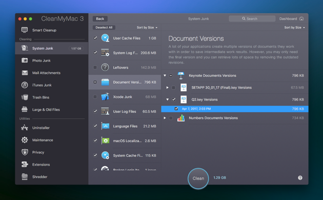 Document Versions in CleanMyMac