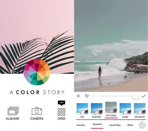 Screenshots of A Color Story, and Instagram filters app