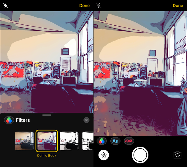 Screenshots: Comic book filter on iPhone