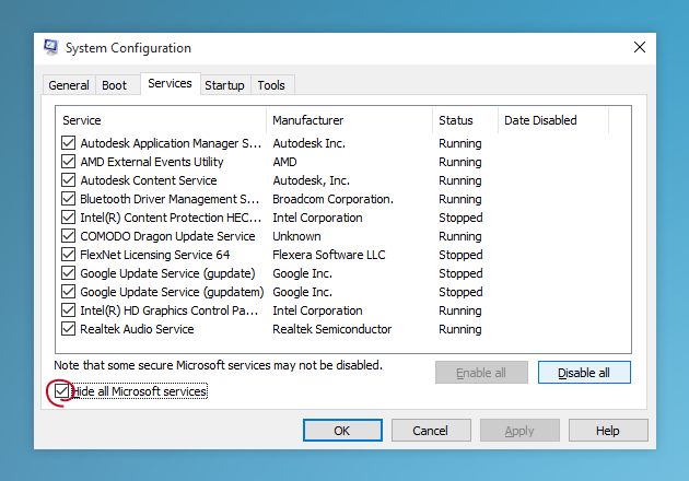Use System Configuration to remove useless programs from startup on Windows 10