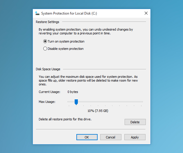 System Protection for Local Disk in Windows 10