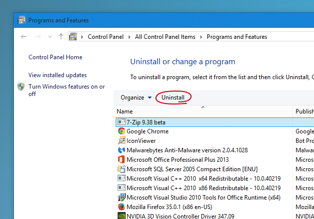 Uninstall programs on Windows 10 PC with Programs and Features