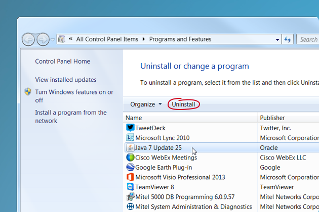 Uninstall or change programs on Windows 7