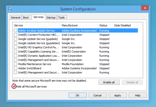 System Configuration on Win8