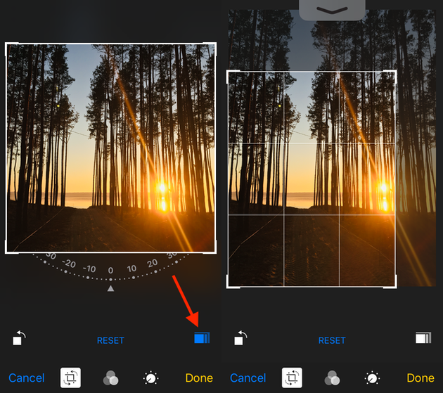 Screenshots: How to crop a photo on iPhone