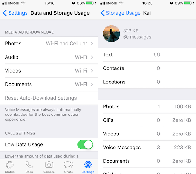 Screenshots: How to delete Documents and Data in WhatsApp