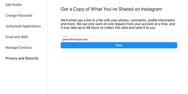 Screenshot: How to download all your Instagram photos