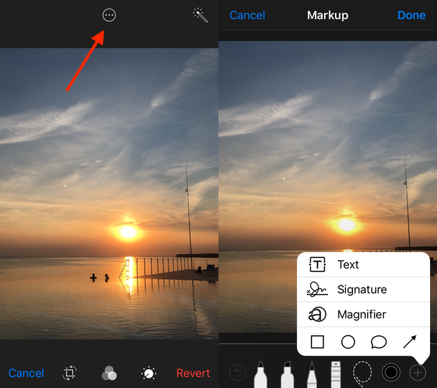 Screenshots: How to draw on photos on iPhone