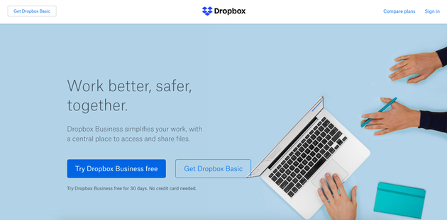 Screenshot of Dropbox, a file sharing website