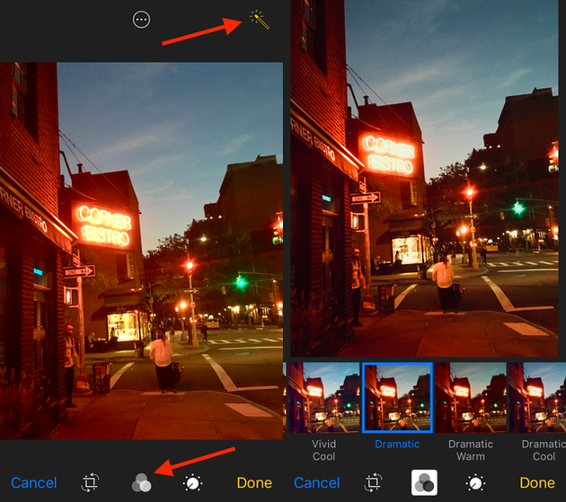 Screenshots: How to quickly enhance a photo on iPhone