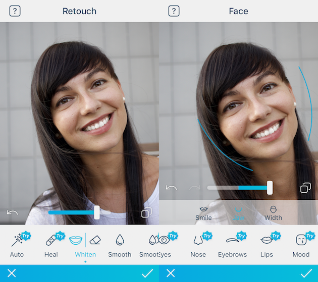 Screenshots of FaceTune, a selfie editor for iPhone