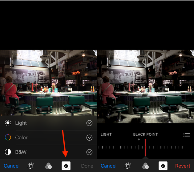 Screenshots: How to emulate Fade filter on iPhone