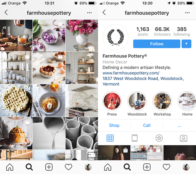 Screenshots of @farmhousepottery's Instagram feed