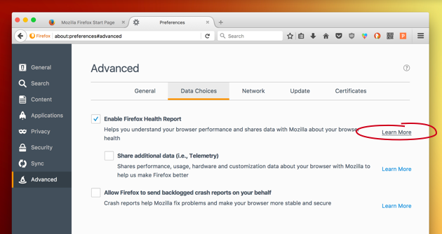 Setup Firefox Health report