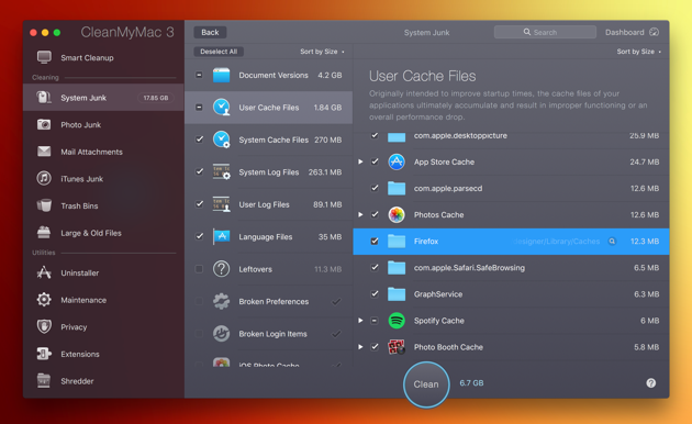 How to clean up Firefox caches and history in few seconds with CleanMyMac