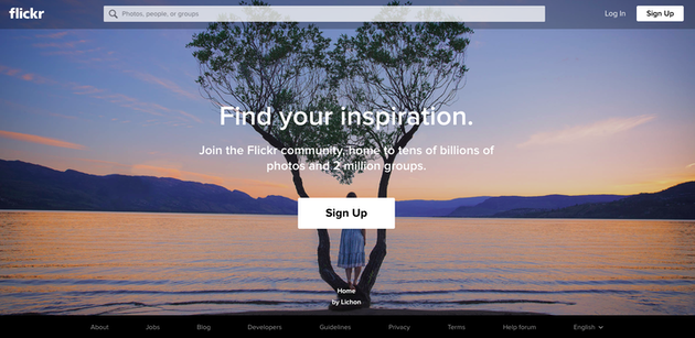 Screenshot of Flickr, a popular photo sharing website
