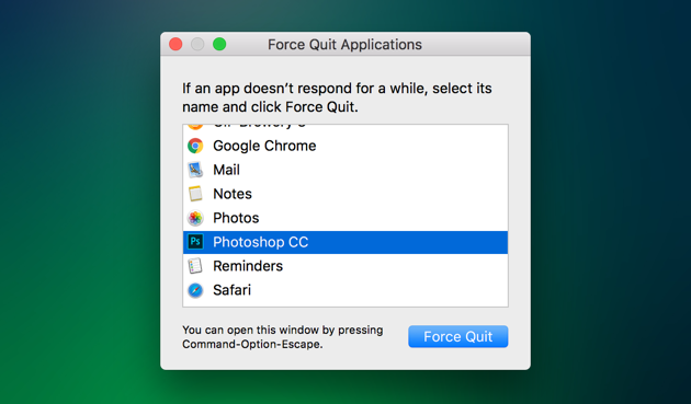How to force quit a macOS app showing a spinning beachball of death
