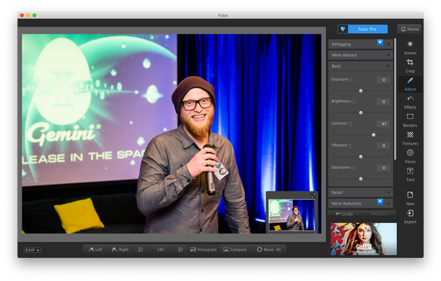 Screenshot of Fotor, free photo editing software for Mac