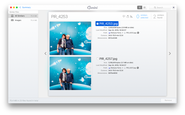 Screenshot of Gemini 2, a duplicate photo finder for macOS