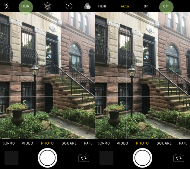 Using the HDR setting in iPhone Camera app
