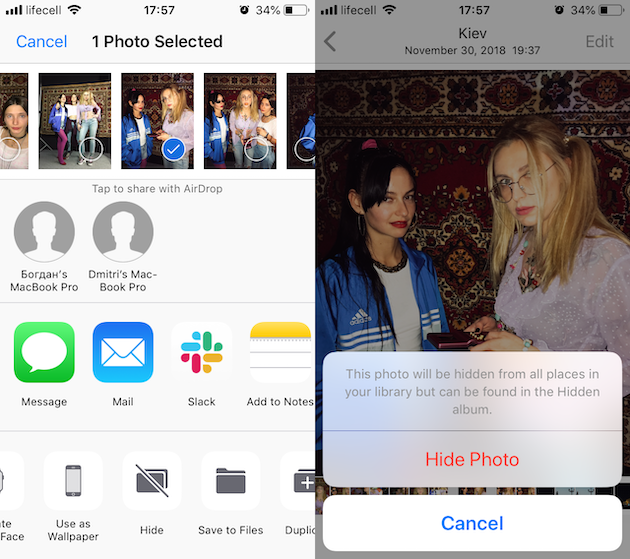 How to hide a picture on iPhone using Photos