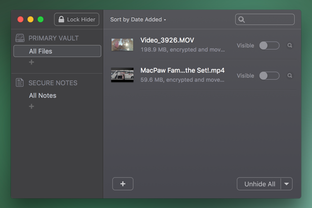 Hide video on macOS with Hider utility