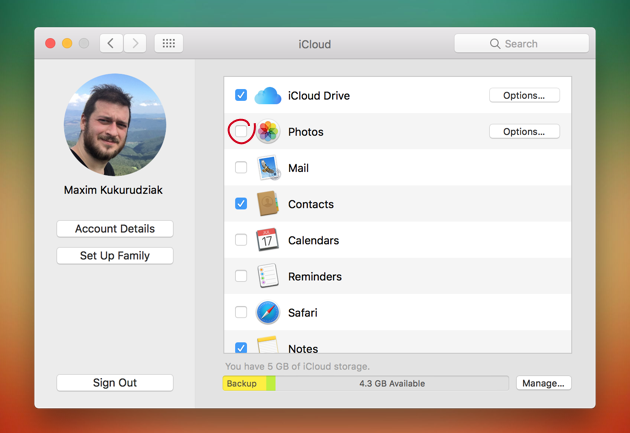 Uncheck Photos in iCloud