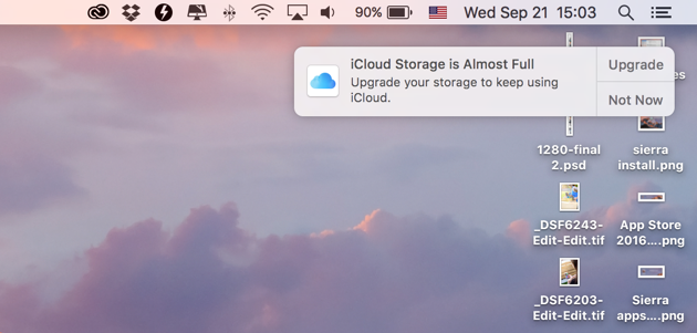 Error on Sierra - iCloud storage is Almost Full