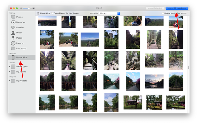 Screenshot: How to import iPhone photos to a Mac using Photos